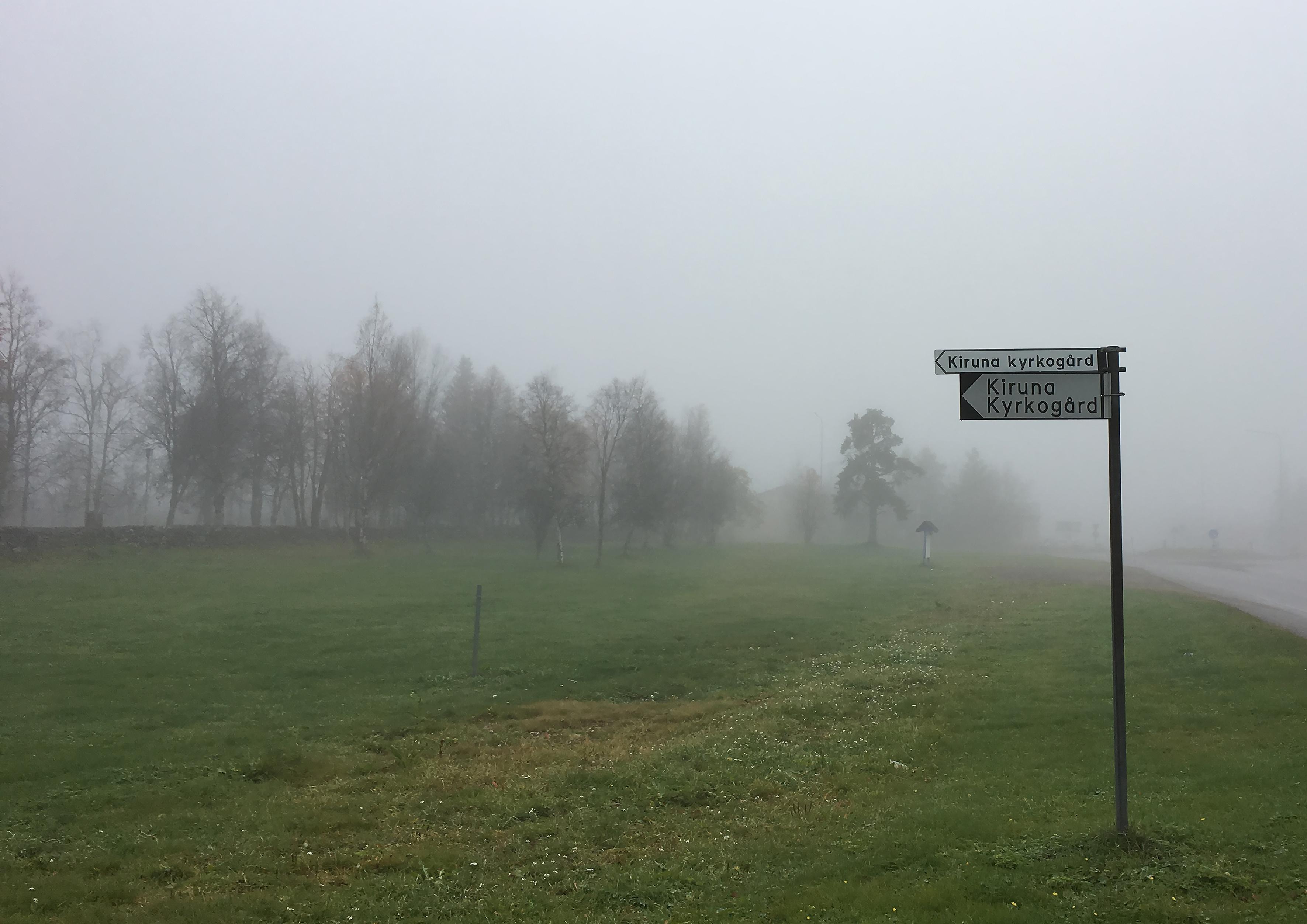 Skylt Kiruna kyrkogård mindre